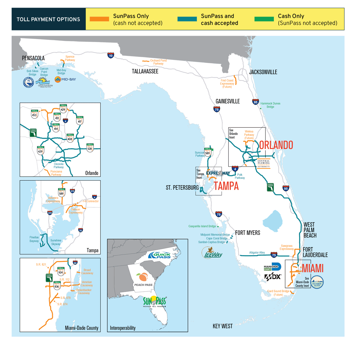 Florida Map With Highways.Florida Tolls Are A Rental Car Gotcha Autoslash Cheap Car Rentals