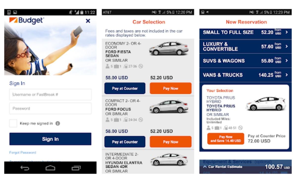 Budget Rent a Car app