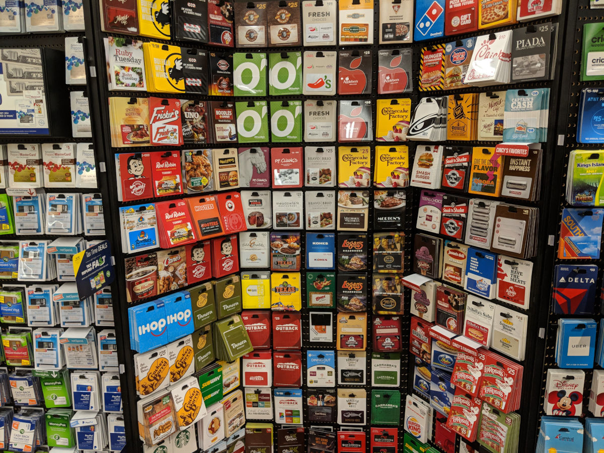 At most Kroger stores, you'll find a rack with gift cards for dozens of retailers