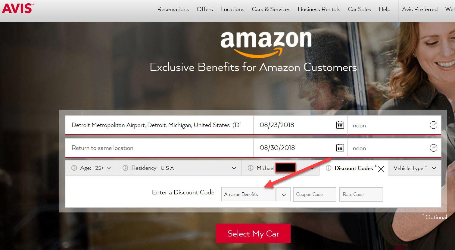 Amazon car rental deals