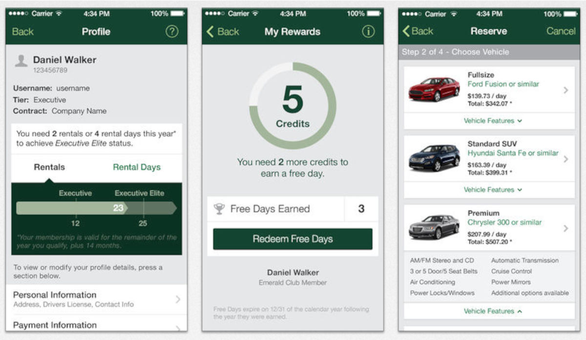 National Car Rental app
